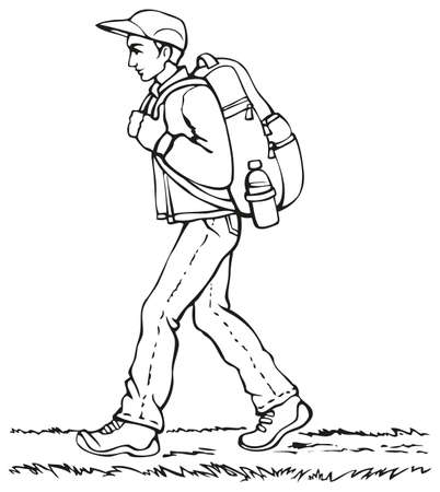 Vector monochrome line drawing. Traveler in a cap, jacket and jeans with a heavy backpack and a bottle of water goes down the path Иллюстрация