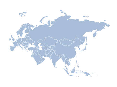 Eurasian EU district, Asian islands plan shape on white backdrop. Freehand line black ink hand drawn web flat european logo emblem frame design in art modern grunge doodle cartoon style pen on paper