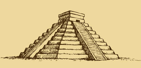 Chichen Itza Tzompantli the Wall of Skulls and Kukulkan pyramid El Castillo. Vector monochrome freehand ink drawn background sketchy in art scribble antique style pen on paper with space for text on sky 矢量图像