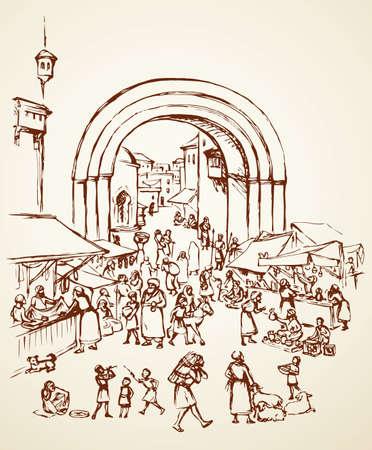 Antique orient religious heritage outdoor vendors man crowd scenic view. Retro fez gate built castle on white background. Brown hand drawn saudi rabat bazar quarter sketch in art cartoon history style
