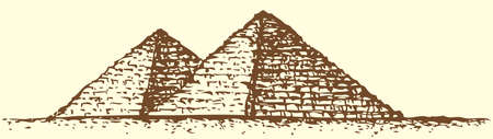 Illustration of a series of vector drawings for the Seven Wonders of the Ancient World. Great Pyramid of Giza (also known as the Pyramid of Khufu or the Pyramid of Cheops) Иллюстрация