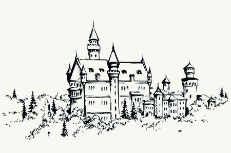 Famous gothic king mansion on white sky text space. Line black ink hand drawn royal home icon sign symbol design in retro art cartoon style. Outdoor rock hill place summer valley nature scenic view