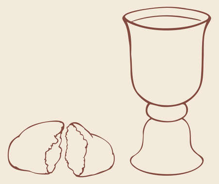 Vector frame as a still-life symbols of the Communion. Broken bread and wine in a bowl