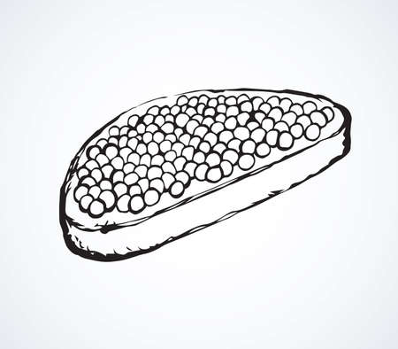 Tasty fat beluga spawn ikura on cut rye bake bun background. line black color ink hand drawn logo sign icon sketch in vintage art doodle graphic cartoon style pen on white space for text. Closeup view