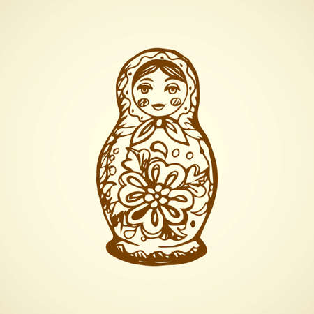 3 small cute kid hohloma matrioska on white backdrop. Freehand line ink hand drawn matreshka picture. Matryoshka logo sketchy in art archaic scribble style pen on paper. Matrioshka with space for text