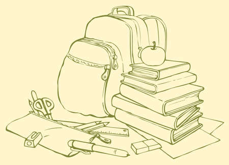 Vector school still life. A stack of books with apple, pencil case with pencils, pen, flamasterami, scissors, eraser, ruler and pencil sharpener on the background of the backpack Çizim