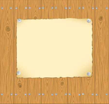 Vector background. The frame of the old paper pinned buttons to wooden planks