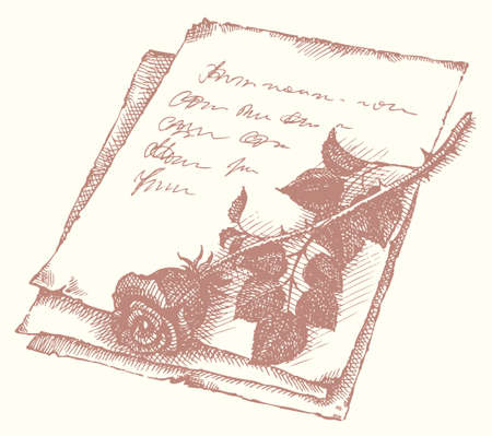 Vector vignette. Sketch of cut roses on the old letter Vecteurs