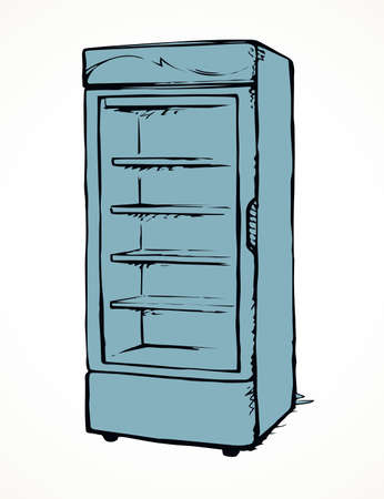 Big chiller show ice soda good case icebox stand on white background. Line black hand draw empty rack chest box cafe aisle device symbol sign in art modern doodle cartoon style on paper space for text 向量圖像