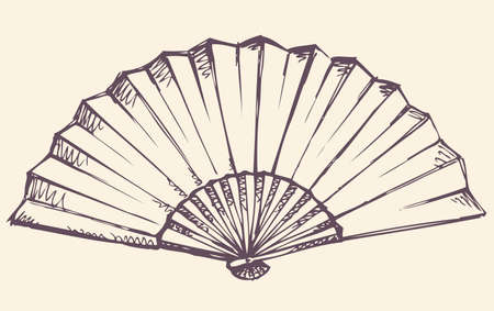 Romantic old stylish simple icon of elegant paper fan isolated on white backdrop. Freehand linear ink drawn symbol sketchy in art antiquity scribble engraving style. Close-up view with space for text Ilustração