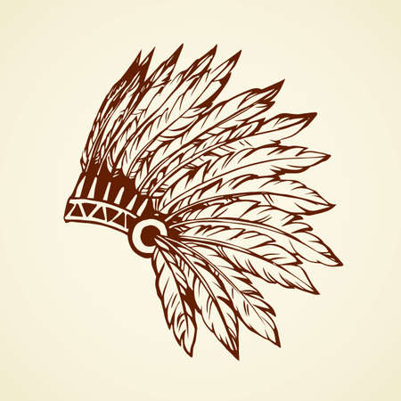 West navajo injun man chieftain adornment warbonnet on white background. rough festival bonnet. Freehand outline hand drawn picture logo sketchy in antique art doodle graphic style pen on paper Logó