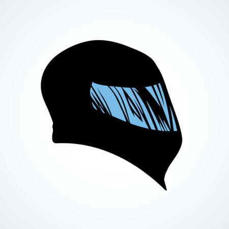 New modern shiny carbon crash helm cover on white backdrop. Freehand outline dark ink hand drawn picture logo sketchy in art retro scribble print style. Closeup side view with space for text