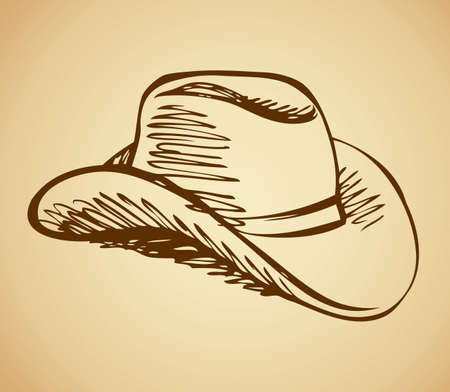 American men wild west ride leather lid symbol isolated on beige background. Freehand outline ink hand drawn icon sketchy in ancient scribble style pen on paper. Side closeup view with space for text Vektorové ilustrace