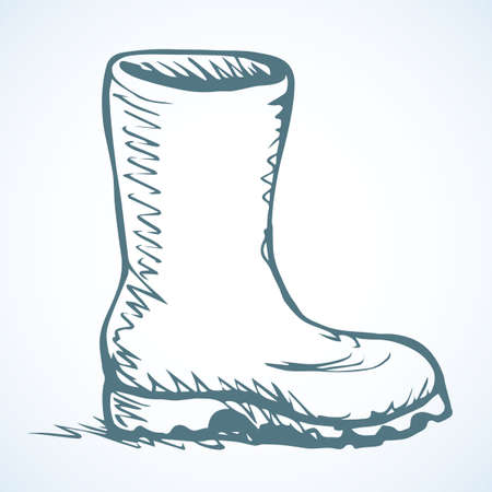 Trendy old cozy styled rainy wellie isolated on white background. Freehand outline ink hand drawn icon symbol sketchy in art scribble retro style pen on paper. Side closeup view with space for text