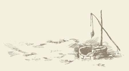 Aged jewish fountain basin hole in Israel nomad farm village. Freehand dark ink hand drawn picture sketchy in vintage art doodle etching style pen on paper. Scenic view and space for text on white sky Illusztráció