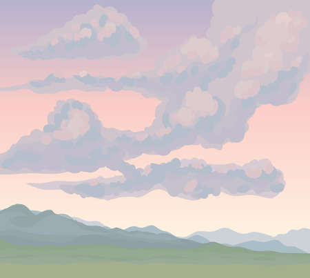 Cold flatland fog scenery on pink heaven backdrop. Bright gloomy color hand drawn gale rocky mount painting sketch picture in art cartoon graphic style. Panoramic windy view with copyspace for text