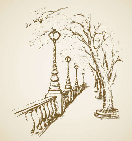 Romantic summer view of alleyway place along bund, streetlamp on bank dike seafront. Freehand linear ink hand drawn backdrop sketchy in art doodle style pen on paper with space for text on cloudy sky  イラスト・ベクター素材