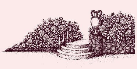Romantic beautiful classic outdoor elegant cozy rest place with old urn on luxury patio with space for text on sky. Freehand ink hand drawn picture background sketch in art doodle style pen on paper Illusztráció