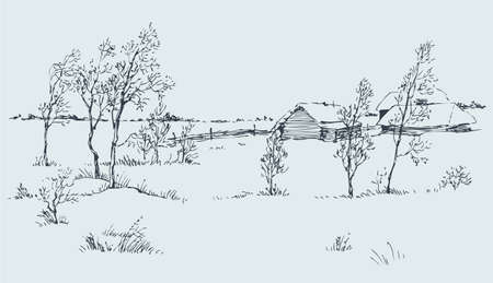 Vector rural landscape. A cold winter day on the snow-covered huts and field