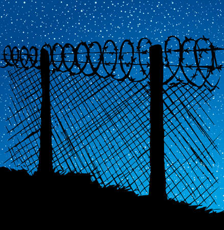 Old warning obstacle spiral spike shape row zone cage scene on dark blue starry nighttime moonlight sky backdrop. Black hand drawn picture concept in retro art cartoon graphic style and space for text
