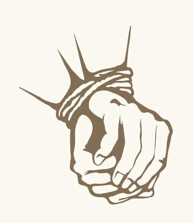 Danger imprison link string cord handcuffed on white paper text space. Black line drawn unable finger fist bind addiction icon sign in art cartoon style. Close up abduct arrest caught body wrist pain Vecteurs
