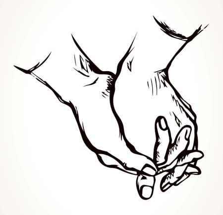 Closeup sin beg hope pair fold girl arm. Line black drawn old white holy saint christ male lover palm thank hold praise god bless care clap concept logo icon sign retro church art doodle cartoon style Illusztráció