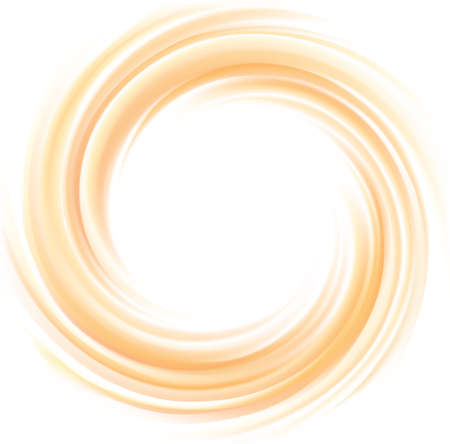 Vector vortex ripple backdrop with space for text. Beautiful curvy fluid surface gentle terracotta color. Circle soft mix of pure fresh sweet carrot, melon, pumpkin, apricot and lemon dessert syrup Ilustracja