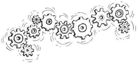 Vector cartoon gear wheels. Drawn in black ink on white background