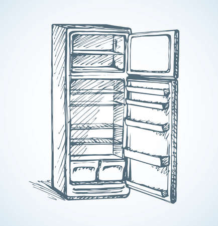 New classic gray cooler icebox frig isolated on white backdrop. Freehand outline black ink hand drawn picture sketchy in art modern scribble style pen on paper. Close-up front view with space for text