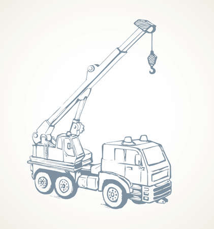 Big tall jib erection height winch carrier lifter on white sky backdrop. Freehand line black ink hand drawn logo pictogram emblem sketchy in art retro doodle cartoon style pen on paper space for text