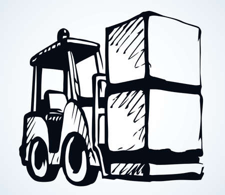 Power raise up weight wheel auto tractor view on white paper text space. Outline black hand drawn courier carry pack production lorry drive job logo sign design in modern art doodle line cartoon style Stock fotó - 155367516