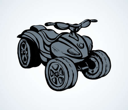Tthree-wheeler quadbike engine machine on light desert backdrop. Outline black ink hand drawn fun offroad four-track tire jump scooter logo design in modern art doodle style pen on paper space for text