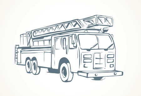 911 aid diesel drive van squad on white road backdrop. Freehand outline black ink hand drawn big lorry siren gear emblem logo sketchy in modern art scribble cartoon style pen on paper space for text Иллюстрация