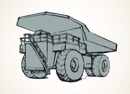 Giant carrier metal tip dirt trash haul dumptruck on white sky background. Freehand line black ink hand drawn logo sign icon sketch in art modern doodle cartoon style pen on paper with space for text