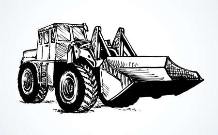 Steel scrape push load traction on big rubber bus tire isolated on white background. Freehand ink hand drawn picture doodle sketchy pen on paper. Side view with space for text on sand dirt land quarry Stock fotó - 155364075