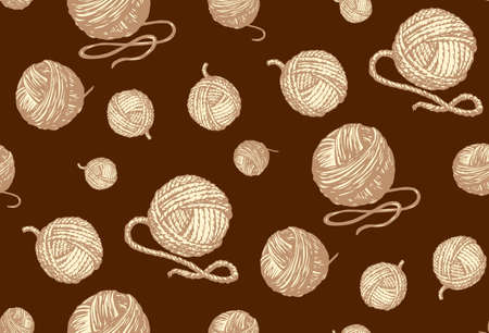 Circle twisted twine coil isolated on dark brown backdrop. Monochrome color hand drawn picture sketchy in art retro scribble graphic style pen on paper. Tileable view Иллюстрация