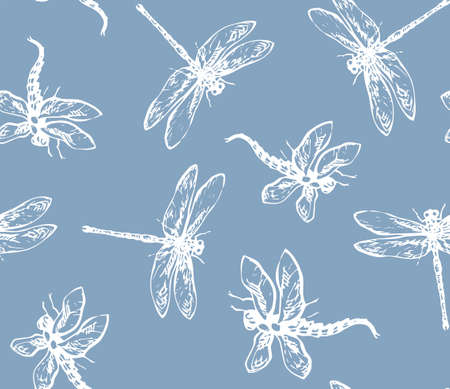 Big cute anisopteras on dark gray backdrop. Light chalk hand drawn logo pictogram design in retro artistic contour etching print style on pale blue wrapping paper. Close up detail view