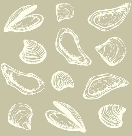 Big fresh perl Ostreidae mollusc on sand backdrop. Outline gray ink hand drawn french diet delicacy dining icon sign design sketchy in retro art cartoon doodle engraved style pen on beige paper
