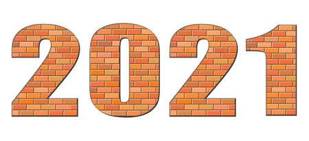 Ð¡ute old grunge rough red clay build write numeral word mark form date decor concept. White abstract big urban masonry brickwall built merry xmas eve logo greet card idea modern happy art style design Ilustração