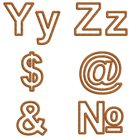 Vector alphabet isolated on white background. Set of three-dimensional letters with texture of wood