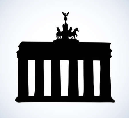 Brandenburger Tor isolated on white. Freehand outline ink hand drawn picture sketch in art vintage engraving style. Panoramic view with space for text on evening sky backdrop