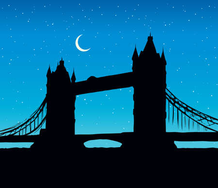 Romantic gothic old suspension bridgework place with space for text on blue nightfall starry sky backdrop. Gloaming scenic urban view. Dark ink hand drawn picture logo in art retro print style with