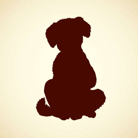 Fluffy puppy sitting on floor wagging his tail isolated on white background. Black ink hand drawn picture sketchy in art retro style pen on paper Illusztráció