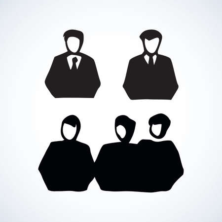 Network guys on white background. Simple web job emblem. Freehand outline black ink hand drawn picture  sketchy in art retro scribble style pen on paper view with space for text