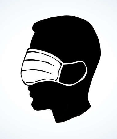 Side profile view 2019 viral flu risk deadly danger hazard ncov 19 human stop false attent safe trust faith patient truth cure. Funny fraud blind fear head nurse staff care cartoon graphic draw vector Иллюстрация