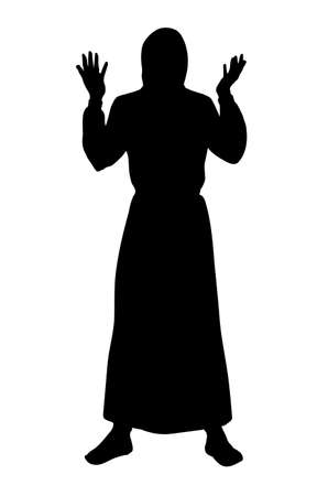 Asia eastern back robe white view historic holy guy monk priest express arm up praise god. Black draw old biblic east saint female human hope  retro history cartoon happy preacher prophet portrait