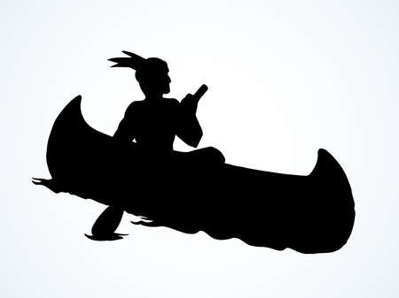 Aztec male leisure drift on white pond text space. Dark black hand drawn ethnic west usa apache human maya oarsman outdoor . Pictogram emblem label design in retro art cartoon engrave contour print style