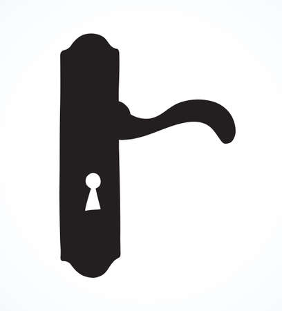 Aged rusty iron door handle padlock design set on white backdrop. Dark black ink hand drawn luxury come object pictogram in modern contour art engrave style on paper space for text. Closeup view