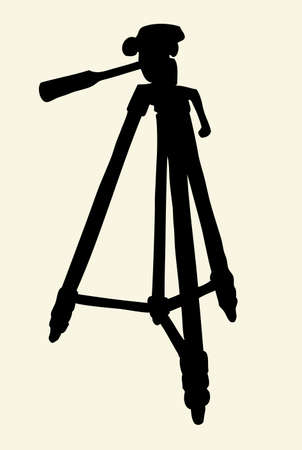 Trestle theodolite rack holder on three legs support for shot isolated on white background. Black ink hand drawn engraving picture sketch pen on paper. Closeup view with space for text