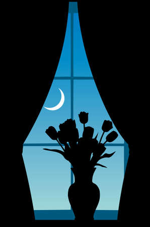 The vase with tulips costs at a window against the night sky